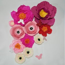 $enCountryForm.capitalKeyWord NZ - Giant Crepe Paper Artificial Flowers 11PCS+Butterflies Wedding Decor Baby Nursery Windows Display Handmade Crafts Customize Decorations Home