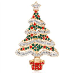 $enCountryForm.capitalKeyWord UK - New Gold Alloy Red Green White Rhinestone Zircon Christmas Tree Brooches For Women Girls Gifts Fashion Pins Clothes Accessories DB