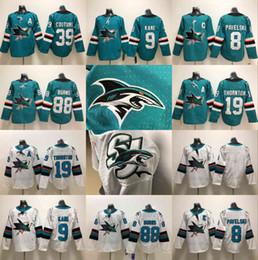 2018 new San Jose Sharks Hockey Jerseys 88 Brent Burns 8 Joe Pavelski 19  Joe Thornton 42 Joel Ward Hertl 9 Evander Kane Teal Green Jersey 01effd76c