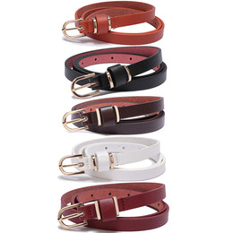 wholesale fashion skinny belts women NZ - Mixed order Women Skinny Microfiber Leather Belt Gold Polished Buckle - Solid Color Formal Casual Womens Belts for Dresses 7Colors Choose