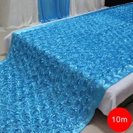 China 140cmX10Meter Fashion Satin 3D Rose Flower Wedding Aisle Runner Marriage Decor Carpet Curtain Home Decor supplier roses cream flower suppliers
