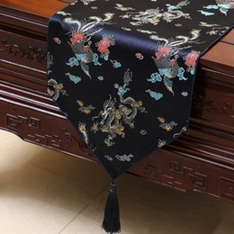 Damask Party Decorations Australia - Classical Chinese Dragon Damask Table Runners Dinner Party Wedding Christmas Table Mat Home Decoration Silk Tablecloths Rectangle 230x33 cm