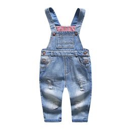 girls clothes size 12 months Canada - 2019 Kids Denim Jumpsuit Baby Boys Girls Jeans Overall Clothing Spring Autumn Kids Jeans baby overalls denim Size 9M-4T