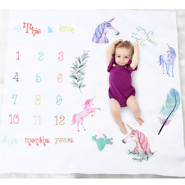 Wholesale 15 types newborn photography background props milestone baby photography props infant letter flower baby unicorn blankets Free Gift Frame