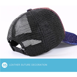 Snapback Baseball Caps Gradient Bee Embroidery Sun Block 1PC Hip-hop  Glitter Fluorescent Sequins Ponytail Mesh Cap c797fc7d4d23