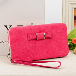 free shipping wallets wholesale NZ - New ladies long wallet mobile phone bag handbags women Bowknot Clutch purse multiple colour free shipping
