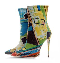 plains prints UK - 2018 new women thin heel boots ankle boots pointed toe booties print leather high heel boots ladies party shoes