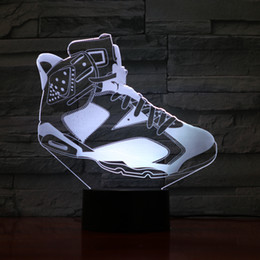 Discount basketball ball shoes - Cool Basketball Shoes Shape Lamp 3D Optial LED Lamp Night Lamp 5th Battery USB Powered 7 RGB Light DC 5V Wholesale Free