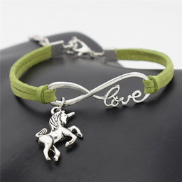 $enCountryForm.capitalKeyWord Australia - 2019 Hot Sale Infinity Love Lucky Horse Unicorn Animal Pendant Charm Bracelet Green Leather Suede Rope Fine Jewelry for Woman Men Lover Gift