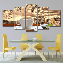$enCountryForm.capitalKeyWord NZ - 5PCS Canvas Posters Wall Art Framework HD Prints Pictures 5 Pieces Coffee Croissant Food Paintings Kitchen & Restaurant Home Decor