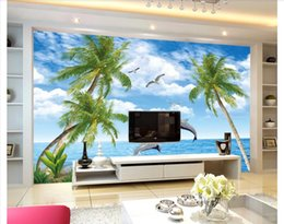 pictures for nursery walls NZ - 3D wall murals wallpaper custom picture mural wall paper Aegean Sea Scenic Dolphin Love TV Background Wallpaper for walls 3d home decor