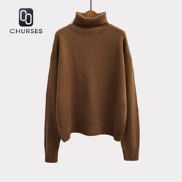 00afd6bd1e 2018 Corea del otoño y el invierno mujer suéter de manga larga de cuello  alto jersey de punto marrón verde suelta sólido mujer jumper tops
