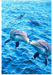 Custom Photo Wallpaper Waterproof Floor Painting Dolphin Wave Sea Surface 3D Flooring For Living Room Decor 3d Dolphins