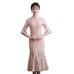 6d78a8c1f Traditional Dresses Style Lace UK - Shanghai Story Flare Sleeve Qipao  chinese Style dress Knee Length