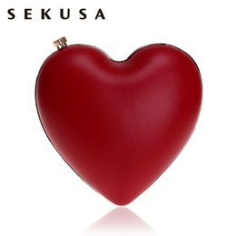 small silver clutch evening bag NZ - SEKUSA New Arrival Heart Shaped Pu Women Clutch Evening Bags Small Shoulder Lady Handbags Wedding Bridal Purse Bags