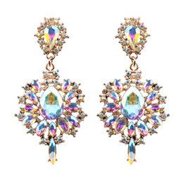 Wholesale Women Drop Earrings Colorful Flower Big Brand Design Luxury Starburst Pendant Crystal Stud Gem Statement Earrings Jewelry Gifts