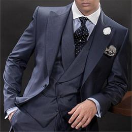Men Sky Blue Pants Canada - New Navy Blue Italian Men Suit 3 Piece Double Breasted Formal Skinny Custom Prom Blazer Masculino 096 (Jacket+Pants+Vest+Tie)