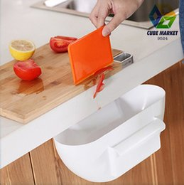 Discount ship cupboard - Wholesale-Free shipping Novelty Kitchen Cupboard Drawer Door Waste Bin Scrap Trap Storage Box Bowl (White) CM-KW0002