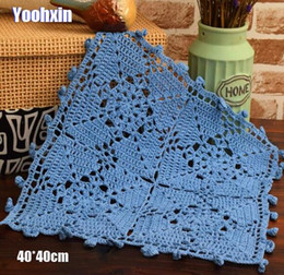 CroChet square doilies online shopping - NEW cotton round placemat cup coaster mug kitchen Christmas glass dining table place mat cloth lace Crochet coffee doily pad