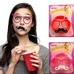 heart shape straw NZ - New Arrival Magic Plastic Drinking Straw Heart Shaped Glasses+Funny Mustache Kids Gift Crazy Party Gadgets