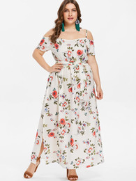 Wipalo Plus Size 5XL Summer Cami Empire Waist Dress Floral Slit Belted Cold  Shoulder Spaghetti Strap Casual Beach Dress Vestidos 8f29e19f7ba7