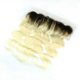 """$enCountryForm.capitalKeyWord Australia - 13x4"""" dark roots #1b 613 body wave wavy virgin brazilian hair two tone ombre blonde lace frontal closure bleached knots with baby hair"""