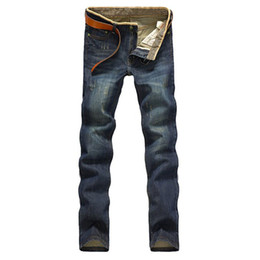 China Hot Fashion Casual Mens Jean Trousers Stylish Slim Fit Straight Leg Jeans Pants Trousers Nostalgia 38 For Men Male Drop Shipping supplier jeans zipper leg for men suppliers