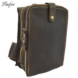 Ipad Genuine Leather Australia - 100% genuine leather chest bag men's leather Shoulder bag functional messenger Cow crossbody iPad mini case