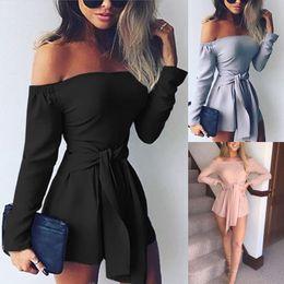 Off Shoulder Black Summer Jumpsuits Canada - Women Ladies Clubwear Summer Playsuit Bodycon Party Off Shoulder Long Sleeve Jumpsuit Romper Trousers