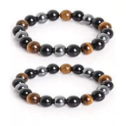 Natürliche schwarze Onyx mit Tigerauge Steinperlen Männer Hämatit Schmuck Heilung Armband 3 Arten Naturstein Energiebilanz Armband im Angebot