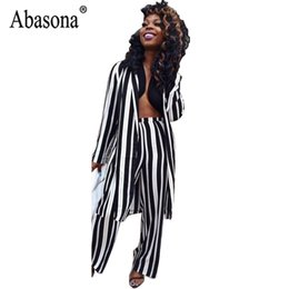 614eb4606a6f Abasona Women Long Black And White Striped Jumpsuit Women Fashion Casual  Long Sleeve Wide Leg Jumpsuit Romper Coat Top playsuit