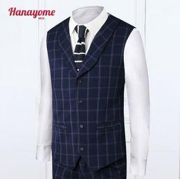 Dark Blue Suits Australia - Dark Blue Suit 2pcs Set Plaid Suits Shawl Collar Vest + Pant Mens Blazer Jacket Two Buttons Slim Fit Navy Mens Suits Classic SI2