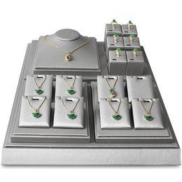 $enCountryForm.capitalKeyWord Australia - Jewelry Display Prop Stand Grey Faux Leather Jewellery Shelf Showcase Ring Necklace Pendant Charms Presentation Holder Custom