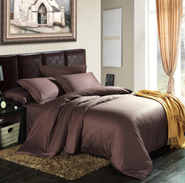 King Size Bedding Sets Color Canada - 100% Egyptian coon 1200 TC Europe style Dark color bedding sheets Super King size 4 pieces bedding set customize on sale