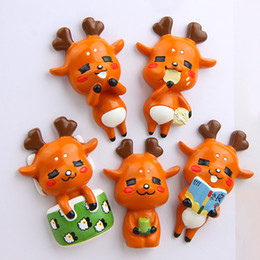 Cute Animal Magnets Canada - Cartoon Cute Nara Deer Fridge Magnet Kid Early Education Animal Magnetic Stickers For Kids Fridge Resin Figure Sticker Suppliers