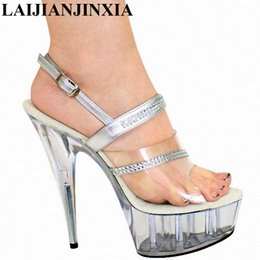 wholesale New Elegant Clear 15CM Sexy Super High Heel Sandals Platforms  Pole Dance shoes 6 inch silver Straps party shoes 49d68a6ffda1