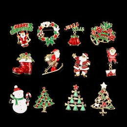 bulk christmas gifts wholesale NZ - Multi-colored Christmas Theme Brooch Pin kids family Gift Metal Christmas Brooch Pin Christmas Tree Brooches in Bulk