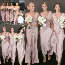 Lavender Blush Wedding Dress Australia - 2019 Sheath Blush Pink Long Bridesmaids Dresses Deep V Neck Beach Wedding Guest Bridesmaid Dress Sexy Vestido de invitado