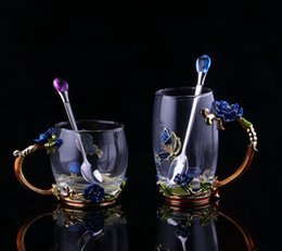 Wholesale Enamel Glass Mug Crystal Clear Glass Mug with Matching Enamel Spoon ml Tea Coffee Cup with Elaborate Irises Handle