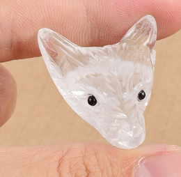 Toy Furniture Wholesale NZ - Wholesale 1.5inches Nature Quartz Stone Crystal Carving Furniture Display Decoration Labradorite Wolf Head Animal Toys Decoration