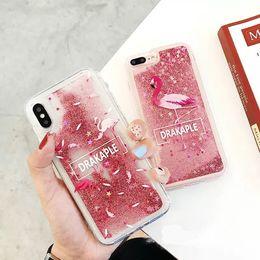 Hot Bling Glitter Shiny Flamingo Quicksand Flowing Stars PC Custodia in plastica dura Custodia Cover per Apple iPhone 6 6S Plus 7 8 Plus X XS