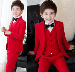 e1f448ae7 Customized 3-12 year old children's suit three-piece suit (coat + pants +  jacket) wedding flower girl dress boy birthday party formal suit d