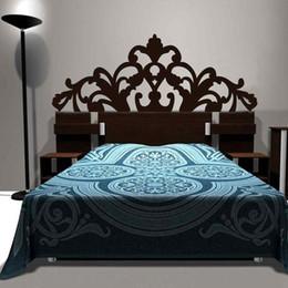 Discount baroque bedding - Brief Baroque Pattern style Headboard Decal Bed Vinyl Wall Sticker Beautiful Flower Bedroom Dorm Wall Decor Home Decorat