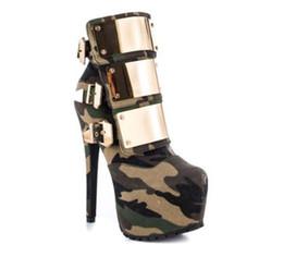 Vente en gros Mode Tendance Femmes Chaussures Bottines À Bout Rond En Métal Boucle Sangle À Paillettes Orné Plate-Forme Talon Aiguille Bottes Courtes Grande Taille