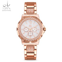 de2086a8021 Shengke Fashion Women s Bracelet Watches Rhinestones Case Shell Surface  Ladies Clock Rose Gold Watchband Relogio Feminino 2018