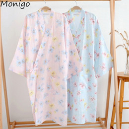 bf74dfba60 Women Lady Japanese Kimono Pajamas Bathrobe Robe Chrysanthemum Flower  Patterned Cotton Nightgown Tracksuit