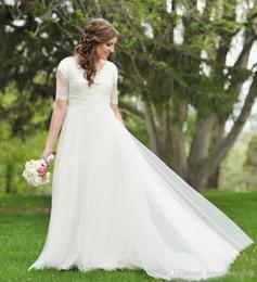 Simple Garden Wedding Gown NZ - A-Line Lace Tulle Beach Modest Wedding Dresses Short Sleeves Cheap Simple Summer Garden Informal Reception Bridal Gowns Mature Bride