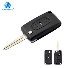 peugeot remote key replacement NZ - OkeyTech for Peugeot Key Shell 2 Button Flip Folding Remote Auto Car Key Cover Case Replacement Fob For Peugeot 4008 Uncut Blade