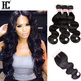 $enCountryForm.capitalKeyWord NZ - HC Hair Products Brazilian Body Wave Lace Closure Non Remy Weft Hair Weave 3 Bundles Human Hair Bundles With Closure Natural Color 1B