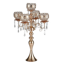 Chinese  63 cm Tall 5-arms Metal Gold Candelabras With Pendants Romantic Wedding Table Candle Holder Home Decoration manufacturers